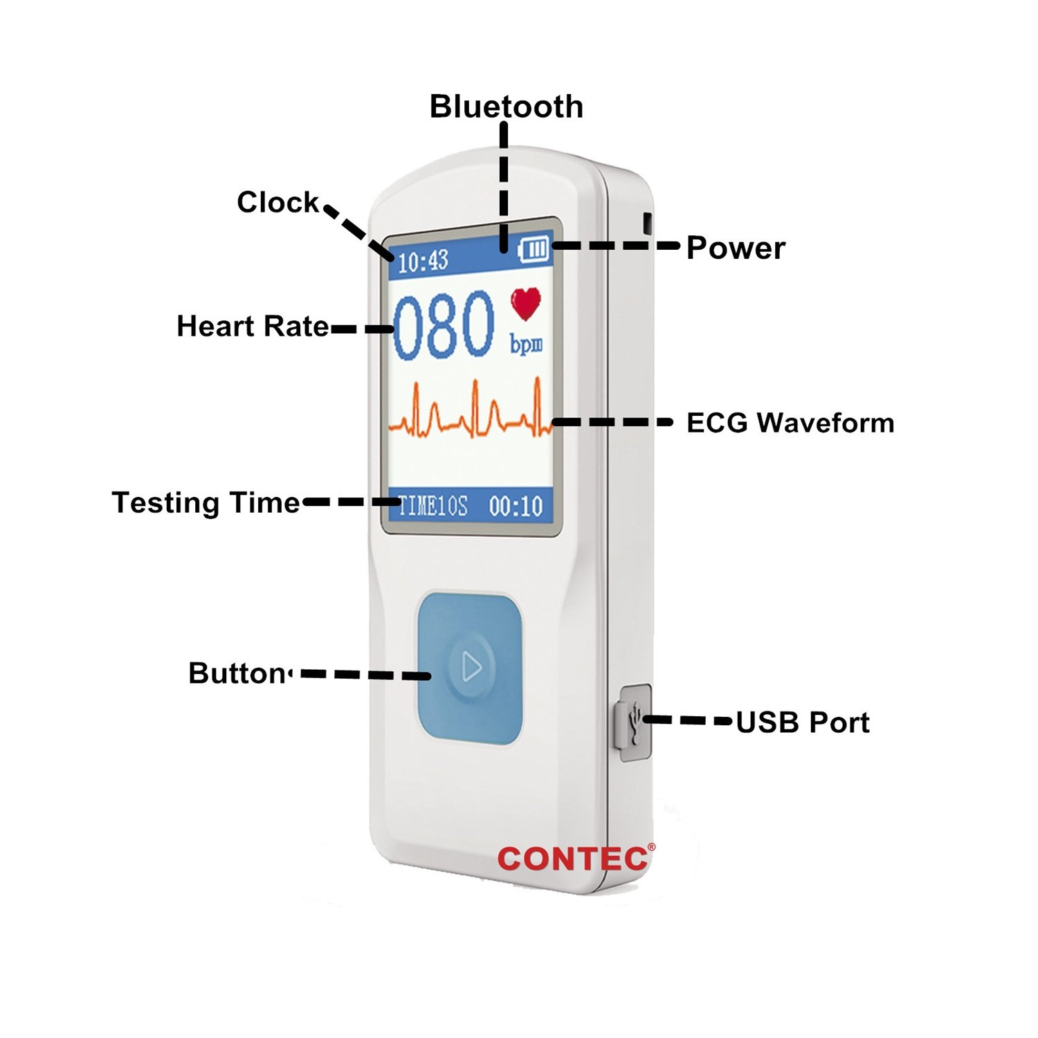 CONTEC Handheld Portable ECG Monitor Heart Rate Beat LCD Bluetooth Electrocardiogram