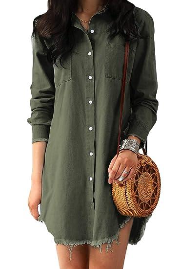 d4e6f3d27bb sandanper Women Long Sleeve Tunic Dress Denim with Pockets at Amazon ...