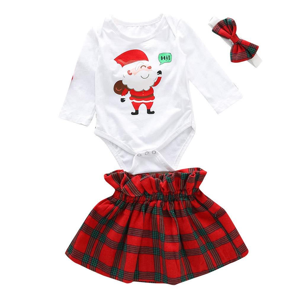 K-youth Conjuntos Bebe Niña Navidad 2018 Ofertas Ropa Bebe Recien Nacido Niña Invierno Otoño Papá Noel Body Bebe Niña Mamelucos Peleles Bebé Mono con Tutú y Venda de Pelo