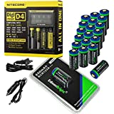 20 Pack EdisonBright type 16340 rechargeable CR123A RCR123A EBR65 3.7v protected li-ion batteries with Nitecore D4 smart digital battery charger digicharger for home & car bundle
