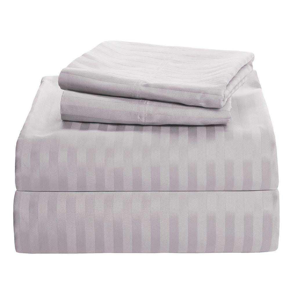 Linenwala 4 PC Bedding sheet set 400 TC 100/% Egyptian Cotton Super Soft Long Staple Italian finish fitted sheet fits upto 12 LIght Grey Stripe deep pocket mattress Queen