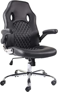Office Chair Desk Leather Gaming Chair, High Back Ergonomic Adjustable Racing Chair, Task Swivel Executive Computer Chair (Black)