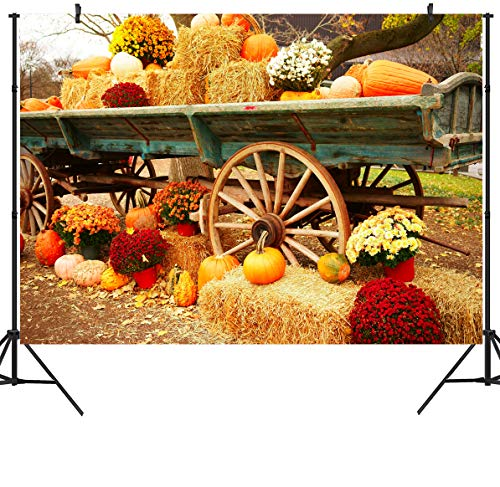 DULUDA 7X5FT Halloween Pumpkin Pictorial Cloth Backdrop Photography Background Studio Prop for Christmas WXL39]()