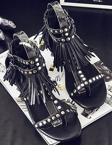 ShangYi Womens Shoes Leather Flat Heel Gladiator Sandals Outdoor / Dress / Casual Black(Genuine leather) Black