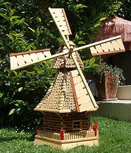Gran molino de viento, molinos de viento jardín, con tejado de madera, sin