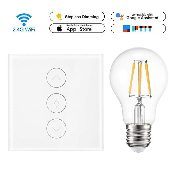 WiFi Smart Switch 1 Gang Smart Light Touch Control Stufenloser Dimmer 400W Wireless Remote Control Kompatibel mit Alexa Googl