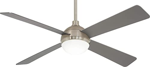 Minka Aire F623L-BS BN Orb – 54 Inch Ceiling Fan with Light Kit, Brushed Steel Brushed Nickel Finish with Silver Blade Finish with White Glass