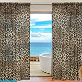 SEULIFE Window Sheer Curtain Animal Tiger Leopard Print Voile Curtain Drapes for Door Kitchen Living Room Bedroom 55×78 inches 2 Panels Review