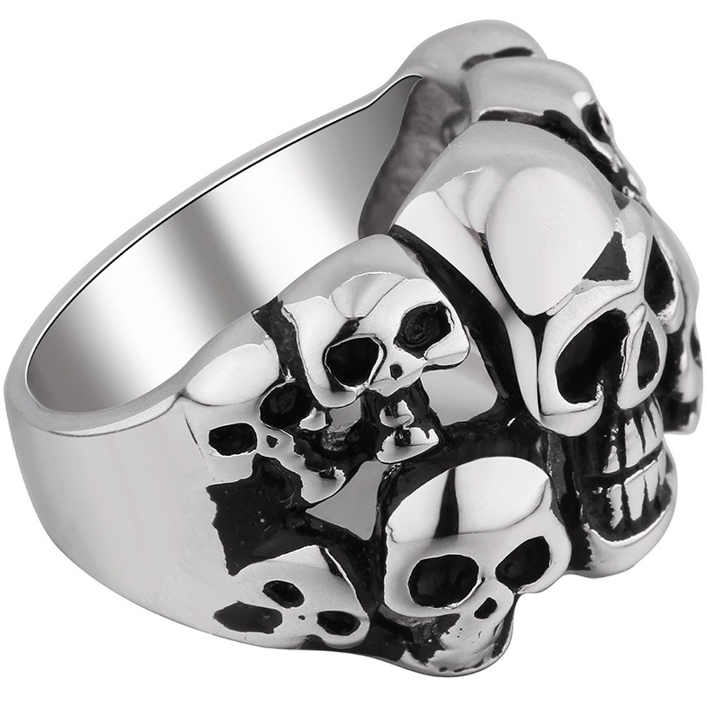 Men's Vintage Classic Gothic Embossed Skull Biker Stainless Steel Ring Band Silver Black Size 10 by MENSO (Image #2)