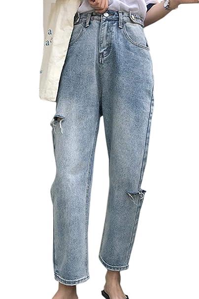 Elodiey Pantalones De Mezclilla Pantalones Vaqueros De Alto ...