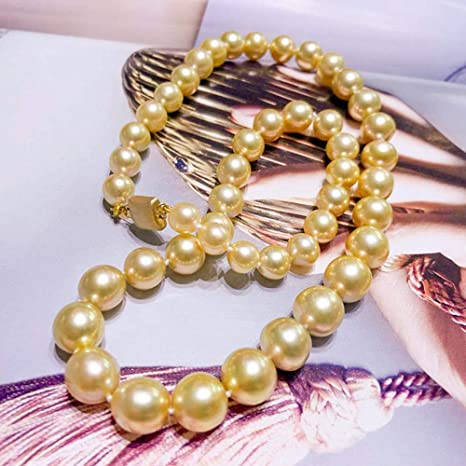 9be30d4b1b09 Lnyy Collar de Perlas Doradas del mar del Sur 14k Collar de Perlas Doradas  sin Fisuras