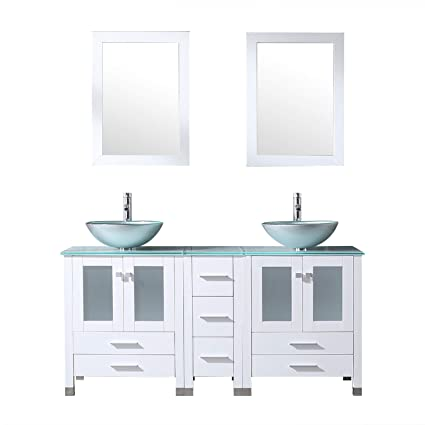 Double Bowl Sink Vanity.Sliverylake White 60inch Bathroom Vanity Top Double Vessel Sink Vanities 4016