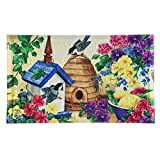 Evergreen Garden 41EM2269 Feathers and Flowers Embossed Floor Mat Door, Multicolor