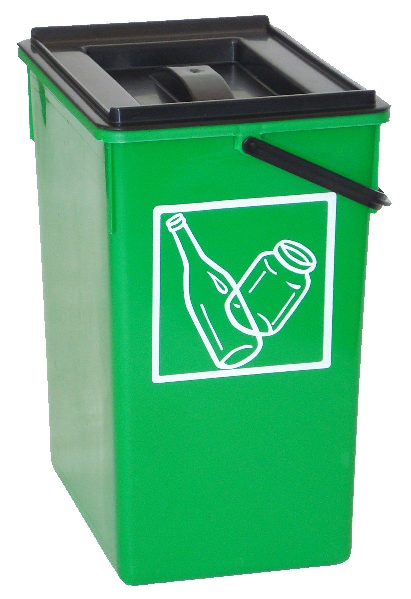 Cubo basura Reciclar verde 20X28X34 C//Asa y tapa