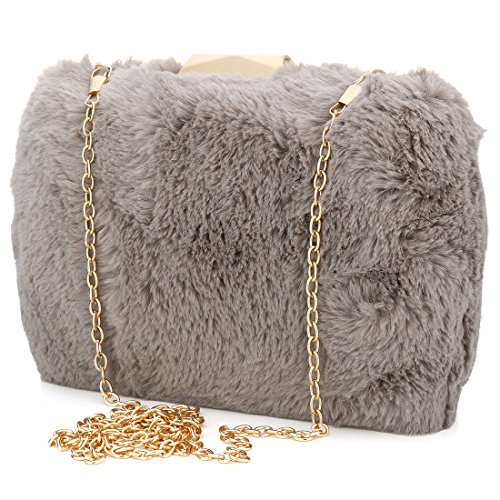 YYW Evening Bag - Cartera de mano para mujer gris