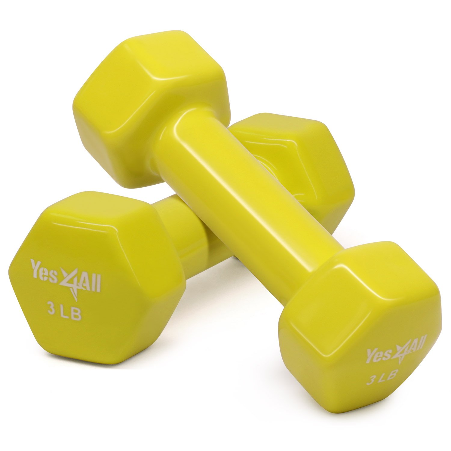 Yes4All Deluxe Vinyl Coated Cast Iron Dumbbell Weights - PVC Dumbbell Sets for a Total Body Workout (Sets of 2, Yellow, 3lbs)