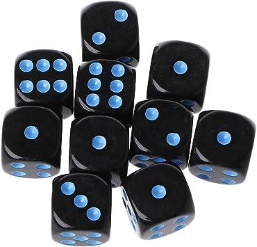 Richi Tackle 10pcs 15 mm Multicolor perlas de acrílico cubo dados juegos de mesa portátil de seis lados juguete, 0.59, Negro, azul: Amazon.es: Deportes y aire libre