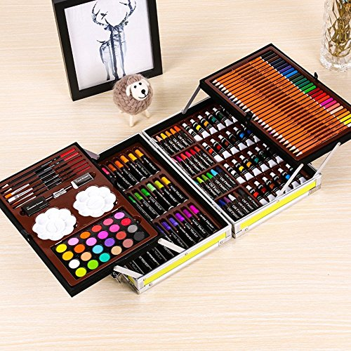 JIANGXIUQIN Artist Art Drawing Set, 145 Luxury Art, Painting and Painting Art, Alloy Box Art Including Acrylic, Oil, Watercolor Paint, Oil Pastels, Colored Pencils. Gifts for Children and Children. by JIANGXIUQIN (Image #1)
