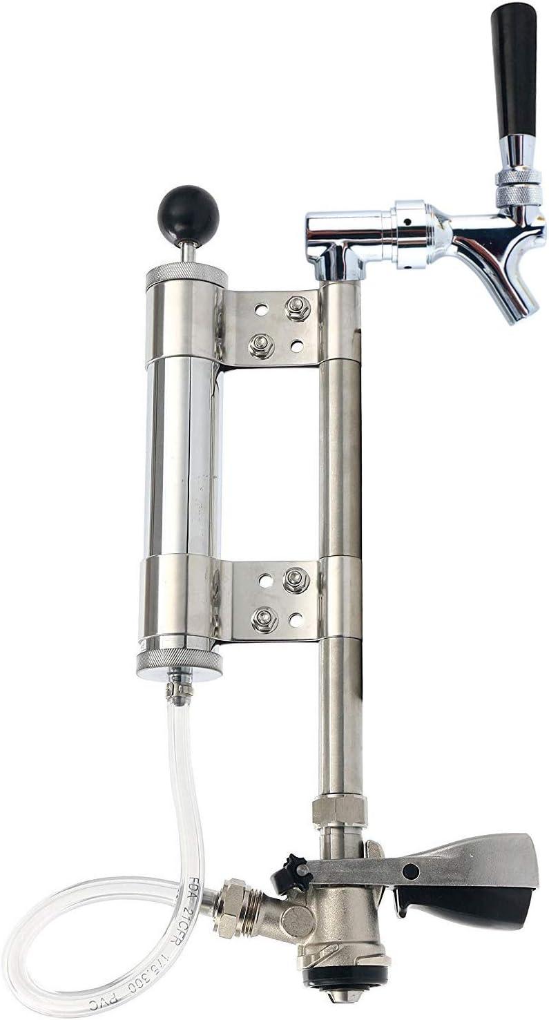 """YaeBrew US Sankey Keg Beer Pump - Lever Coupler - Party Beer Keg Tap Converter with 8"""" Pump Stainless Steel"""