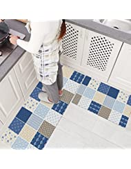 Ustide 2 Piece Bohemia Style Rubber Non Slip Kitchen Rug Runner Blue Plaid  Waterproof And Oil Proof Area Rug And Carpet Doormat
