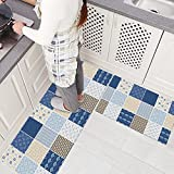 Ustide 2-Piece Bohemia Style Rubber Non-slip Kitchen Rug Runner Blue Plaid Waterproof and Oil Proof Area Rug and Carpet Doormat