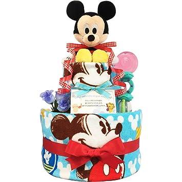 2b872d47599478 Amazon   おむつケーキ [ 男の子/ディズニー : ミッキー / 2段 ] パンパースM19枚 (1歳の誕生日プレゼントに大人気)3001  ダイパーケーキ ギフト ハーフバースデー にも ...