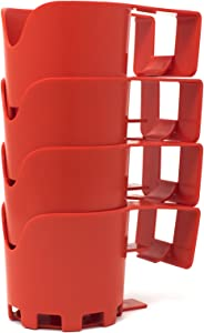 BeraTek Industries Storage Theory | Poolside Cup Holder | Designed for Above Ground Pools | Only Fits 2 inch or Less Round Top Bar | Red Color | 4 Pack
