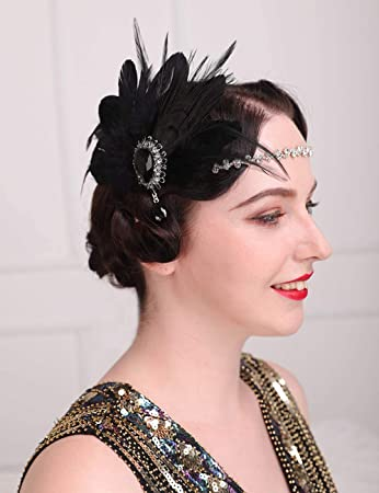 Black Only Feather Flapper Hair Clip
