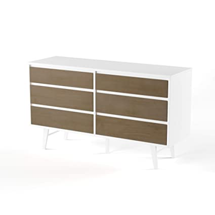 Image Unavailable. Image Not Available For. Color: ModHaus Living Mid  Century Modern Retro 6 Drawer Wood Dresser ...