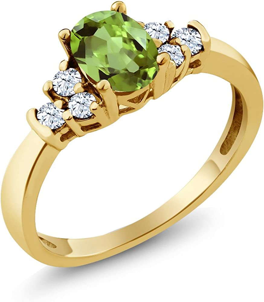 Gem Stone King 1.48 Ct Oval Green Mystic Topaz Yellow Sapphire 18K Rose Gold Plated Silver Ring With Accent Diamond