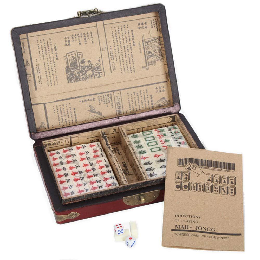 Travel Mahjong Game Set Chinese 144 Tiles Mah-Jong Set in Box Board Game Toy