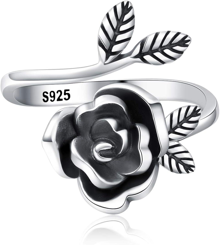 ACJFA Rose Flower Ring 925 Sterling Silver Open Adjustable Rings for Women Gift