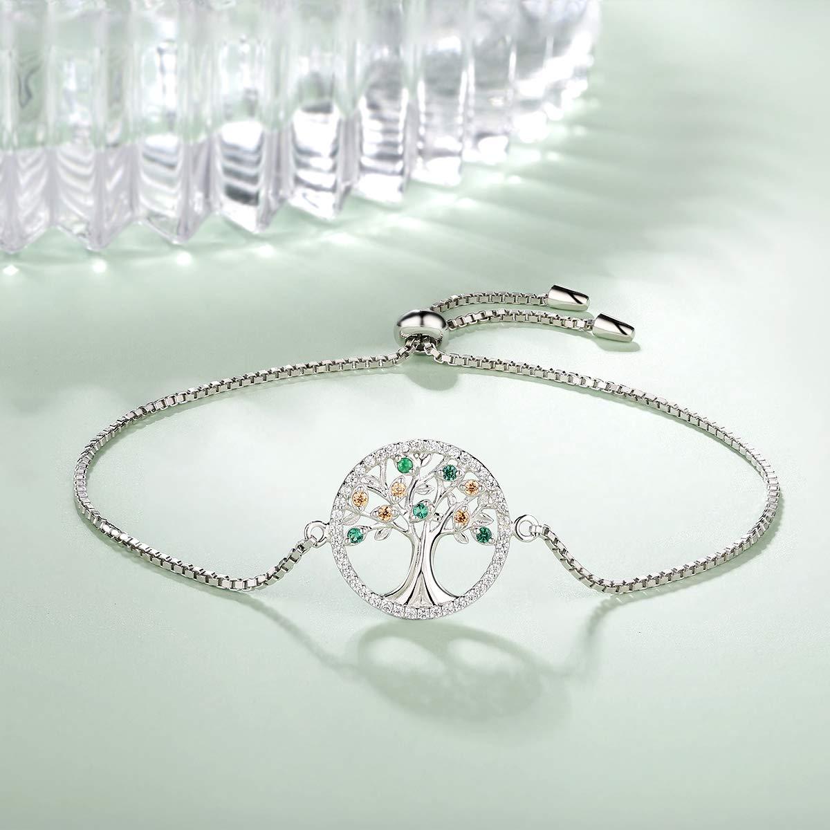 MEGA CREATIVE JEWELRY Bracelets pour Femme Arbre de Vie en Argent Or Rose 925 Cristaux de Swarovski