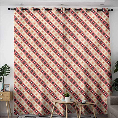 AndyTours Kids Curtains,Geometric,Great for Living Rooms & Bedrooms,W120x72L,Pale Pink White and Black
