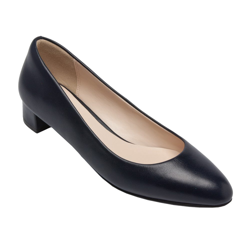 PIC/PAY Fiona - Women's Low Heel Leather Pumps - Classic Almond Toe Slip-On Flat Shoes (New Fall) B0753483H7 9.5 B(M) US|Navy Leather