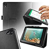 Orzly® - TABLET STAND CASE for NEXUS 9 with AUTO SLEEP SENSORS - Tablet Case in BLACK Leather Effect with Built-In Magnetic Lid for Secure Fastening & Integrated Sleep Sensors ( for Automatic Sleep / Wake / Standby functionality ) - Custom Built to fit the Google / HTC NEXUS 9 Tablet (2014 Version / 9 inch screen Model - Fits both Original Model and also 3G / LTE Versions )