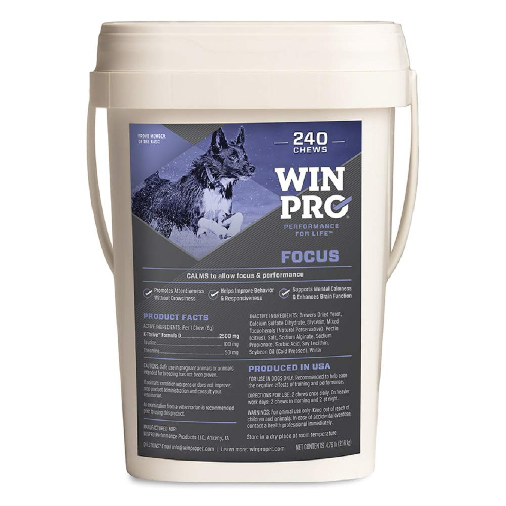 WINPRO Focus Blood Protein Soft Chew Supplement for Calming and Anxiety Relief, 240-count Pail by WINPRO
