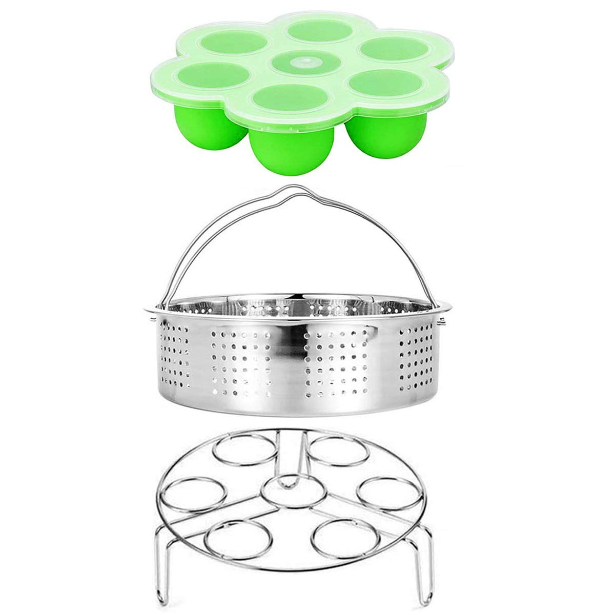 Steamer Basket, Egg Rack Holder, Silicone Egg Bites Molds for Instant Pot and Pressure Cooker Accessories, Vegetable Food Steamer Rack. Fits Pot 5,6,8 qt Pressure Cooker, Stainless Steel, 3 Pieces