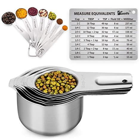 Measuring Cups, 1Easylife 18/8 Stainless Steel Measuring Cups and Spoons  Set of 15