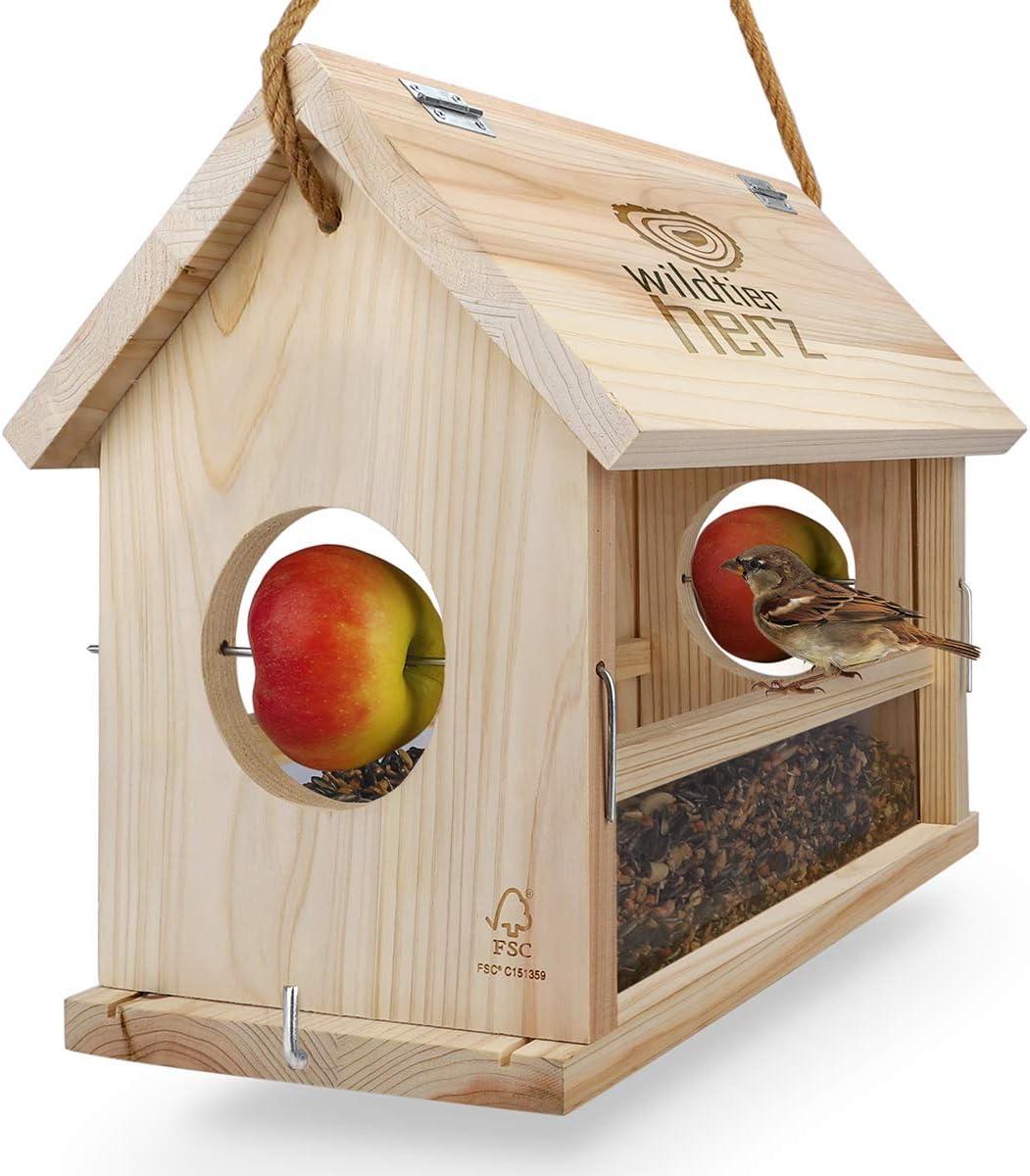 wildtier Herz | Vogelfutterhaus XXL Handarbeit aus Natur-Holz für Gartenvögel wetterfest, naturbelassen. Vogelhaus Zum aufhängen im Garten und Balkon