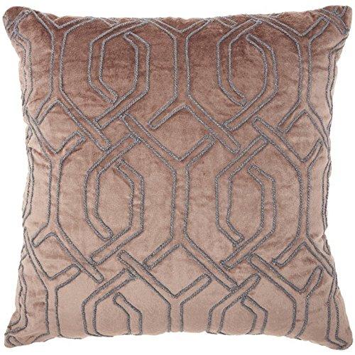 ON 1 Piece 18 x 18 Light Grey Geometric Throw Pillow, Elegant Rhinestone Bead Embroidered Interlock Pattern Contemporary Modern Graphic Print Couch Decor Cushions Seat Pillows Zipper Closure, Velvet (Interlock Embroidered)
