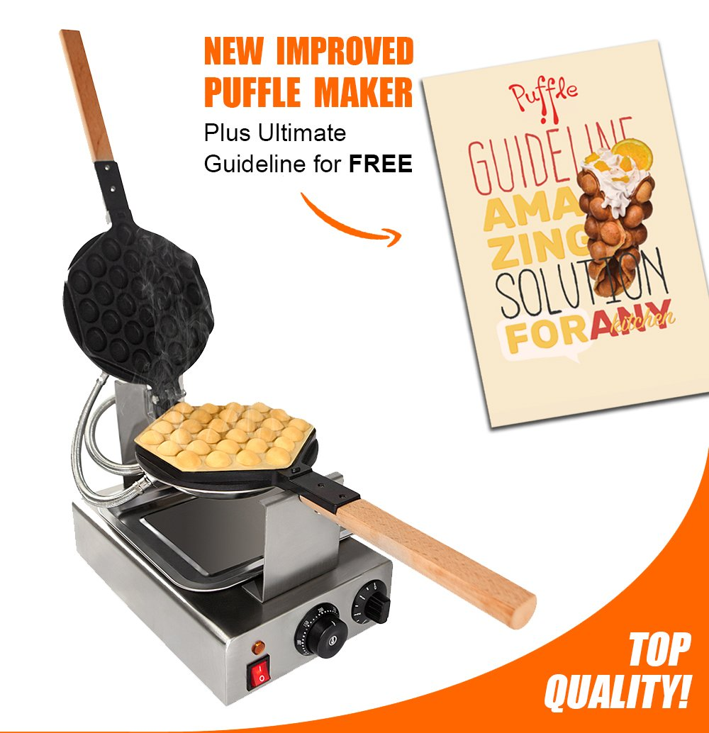 TOP Version Puffle Waffle Maker Professional Rotated Nonstick FY-6 NP-547(Grill / Oven for Cooking Puff, Hong Kong Style, Egg, QQ, Muffin, Cake Eggettes and Belgian Bubble Waffles) (110V with US Plug) by ALDKitchen