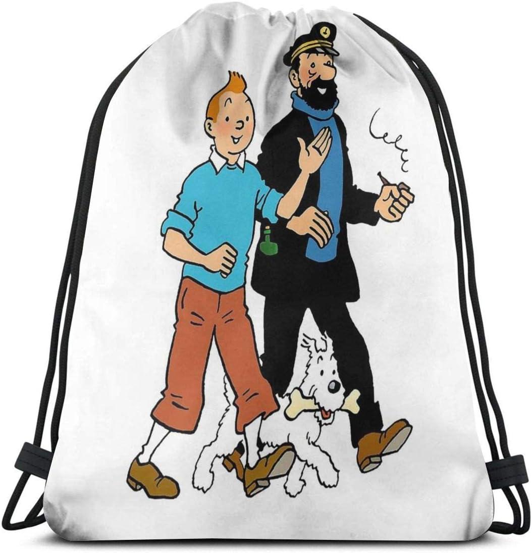 HFXY Tim und Struppi und Kapit/än Schellfisch Kordelzug Sport Fitness Tasche Reisetasche Geschenkt/üte