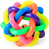 Foodie Puppies Colourful Squeaky Rainbow Rubber and Latex Woven Balls with Inner Bell for Dogs