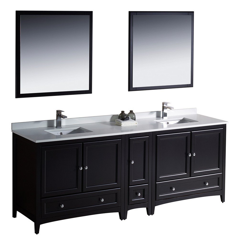 Fresca Bath FVN20-361236ES Oxford 84 Double Sink Vanity with Side Cabinet, Espresso