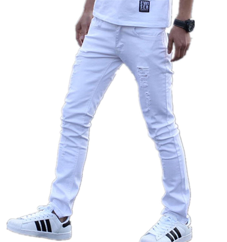 Vska Men Casual Trousers Stretch Slim Fitted Vintage Skinny-Fit Jeans Pants