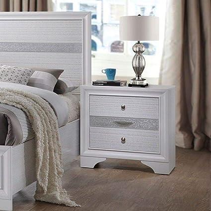 E2B New Modern Norsk 2 Drawer Bedside Table Cabinet White High Gloss Bedroom D/écor N-19 White