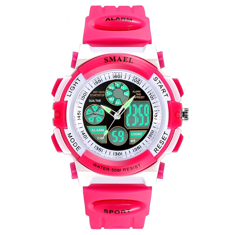 Womens 5 ATM Digital Sports Wrist Watch Electronic LED Backlight Wathes for Girls Pink