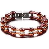 Mealguet Jewelry Unisex Stainless Steel Motorcycle Biker Chain Link Bracelets with Rhinestones, 6 Colors