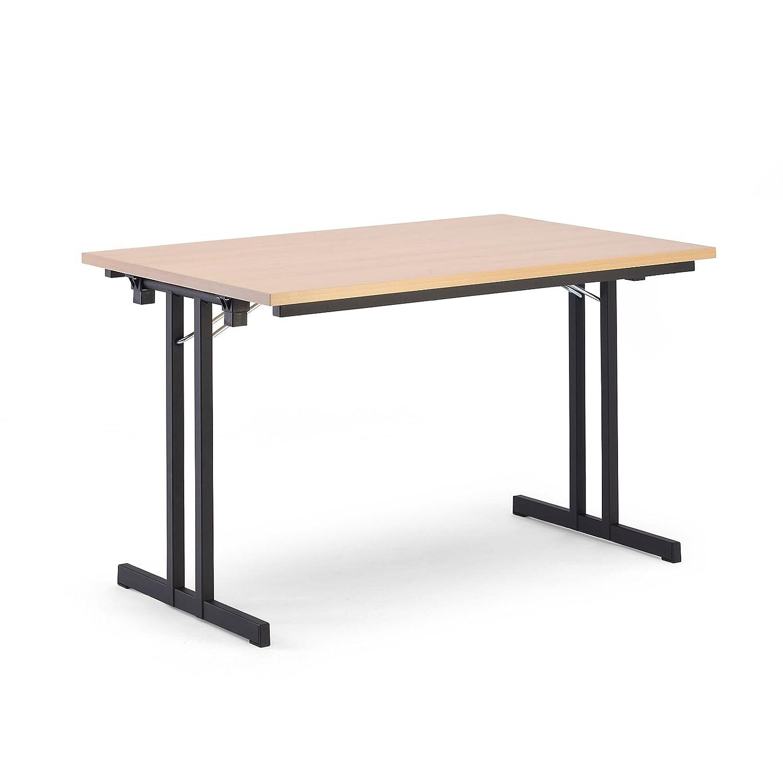 Platte Ahorn-Dekor 720 x 1400 x 800 mm Klapptisch Mehrzwecktisch Konferenztisch Extra starke rechteckige Platte HxBxT Certeo Klapptisch Gestell schwarz